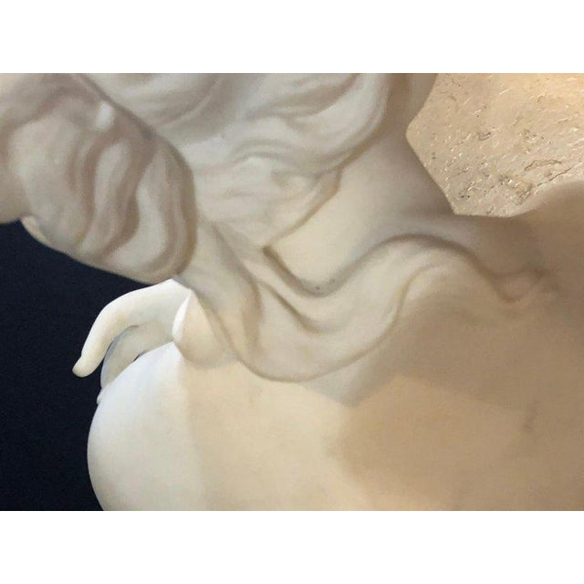 White 19th Century White Carrara Marble of a Nude Life Size Figure Kneeling For Sale - Image 8 of 13