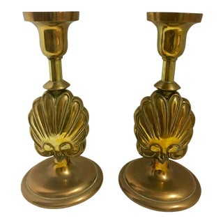Vintage Brass Shell Stem Candle Sticks - A Pair For Sale