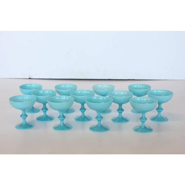 French 1930's Vintage Portieux Vallerysthal French Blue Opaline Glasses- Set of 12 For Sale - Image 3 of 3