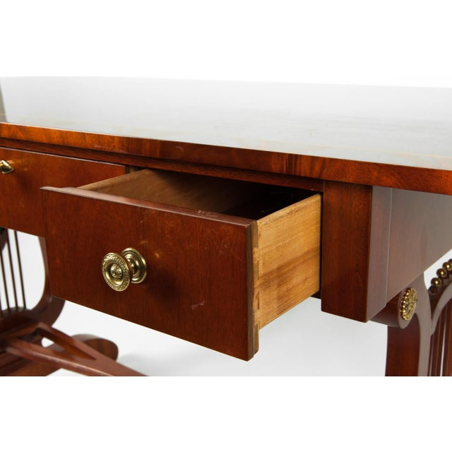 Early 20th Century Vintage Mahogany Burlwood Writing Desk or Console Table For Sale - Image 5 of 13