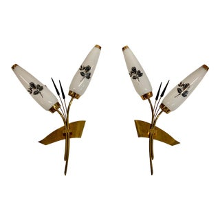 Monumental Maison Lunel French Wall Sconces 1950's - a Pair For Sale