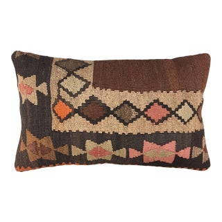 "Bold Brown Kilim Lumbar Pillow | 12 X 20"" For Sale"