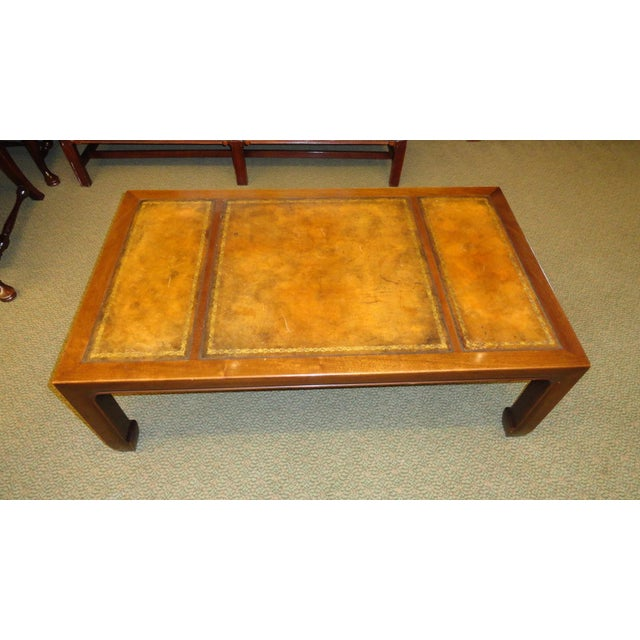 baker furniture company baker furniture leather top coffee table for sale image 4 of 5 - Leather Top Coffee Table