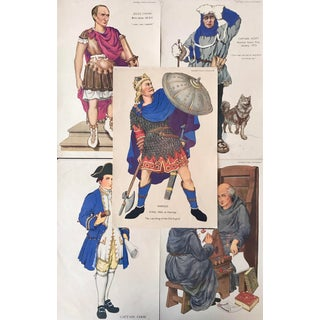 1920s British Historical Teaching Posters, Set of 5 (Julius Caesar, Captain Scott, Harold, Captain Cook, the Venerable Bede) For Sale