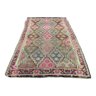 Contemporary Turkish Traditional Natural Goat Hair Antique Kilim Rug - 5′9″ × 10′2″ For Sale