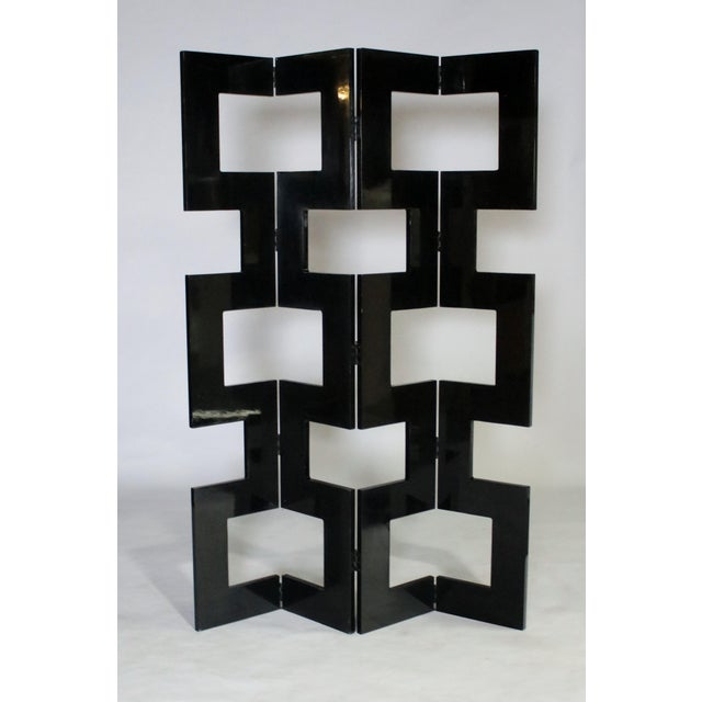 Modernist Black Lacquered Wood Room Divider For Sale - Image 4 of 7