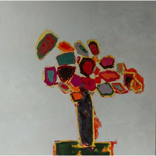 """Bill Tansey """" Narrow Vase"""" Abstract Floral Oil Painting on Canvas For Sale"""
