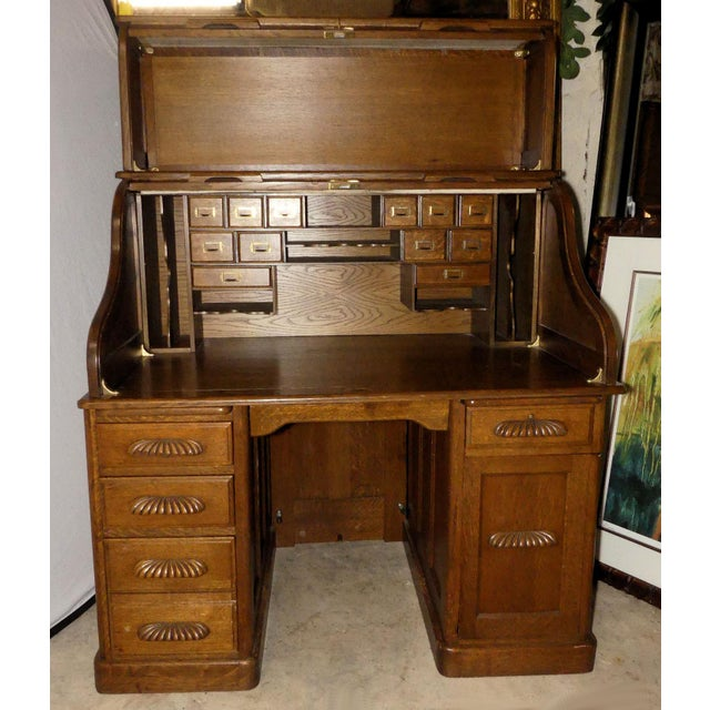 French Solid Oak Rolltop Desk With Roll Front Hutch For Sale - Image 3 of 12