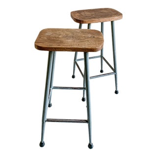 Vintage Industrial School House Counter Stools - a Pair For Sale