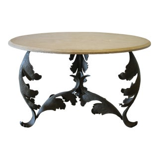 Custom Iron Base Table With Stone Top