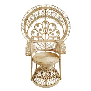 Natural Peacock Fan Chair For Sale