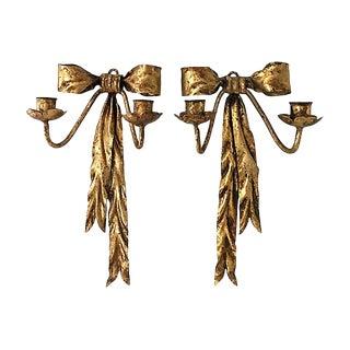 Italian Gilt Ribbon Sconces, Pair For Sale