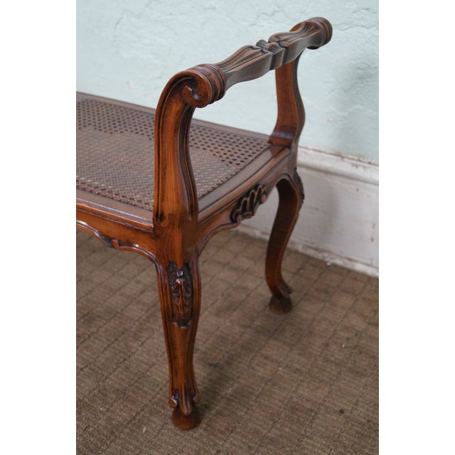 Italian Made French Louis XV Style Cane Seat Bench - Image 4 of 10