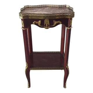 Louis XVI Mahogany Marble Top Oval Side Table Stand