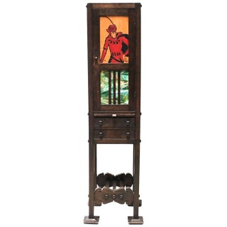 Charming American Arts & Crafts Narrow Cabinet With Slag Glass Panels For Sale