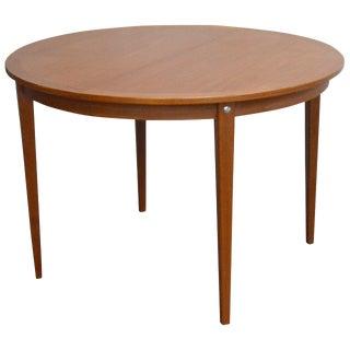 Mid-Century Modern Round Swedish Teak Dining Table For Sale