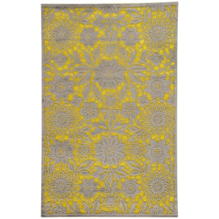Jaipur Living Vivrant Floral Yellow/ Gray Area Rug - 5′ × 7′6″ For Sale