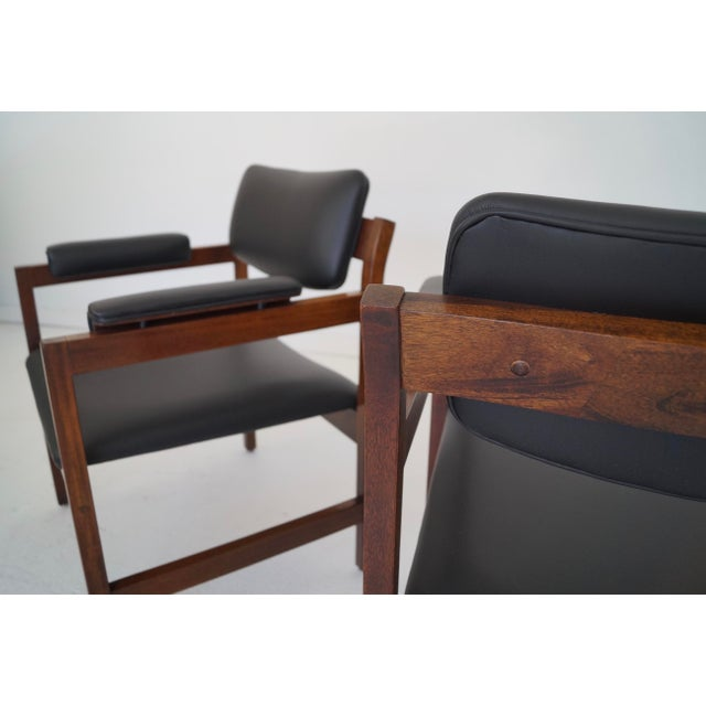 Mid-Century Walnut Arm Chairs - a Pair For Sale - Image 9 of 11