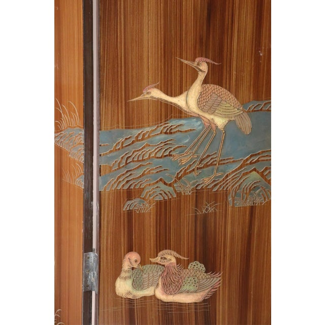 Large Caramel Hand Painted Chinoiserie Screen For Sale - Image 4 of 5