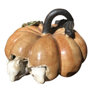Antique Majolica Pumpkin Squash With Mice Guests Figurine For Sale