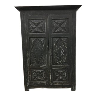 19th C. French Antique Painted Two Door Cabinet Armoire For Sale