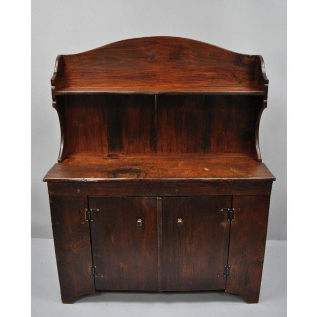 Early 20th Century Antique Country Primitive Knotty Pine Cupboard Cabinet Sideboard Stepback Hutch For Sale - Image 5 of 12