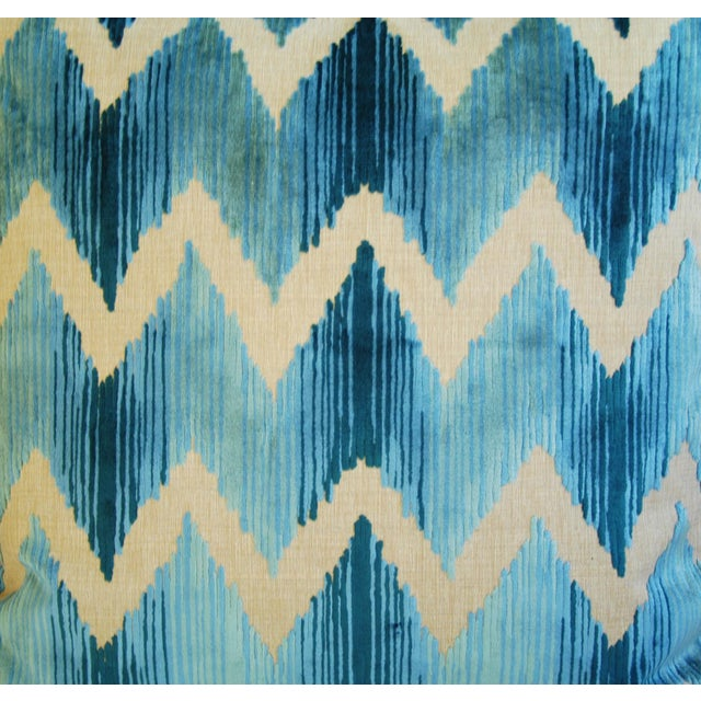"Boho Chic Chevron Flamestitch Cut Aqua Velvet Feather/Down Pillows 24"" Square - a Pair For Sale - Image 4 of 15"