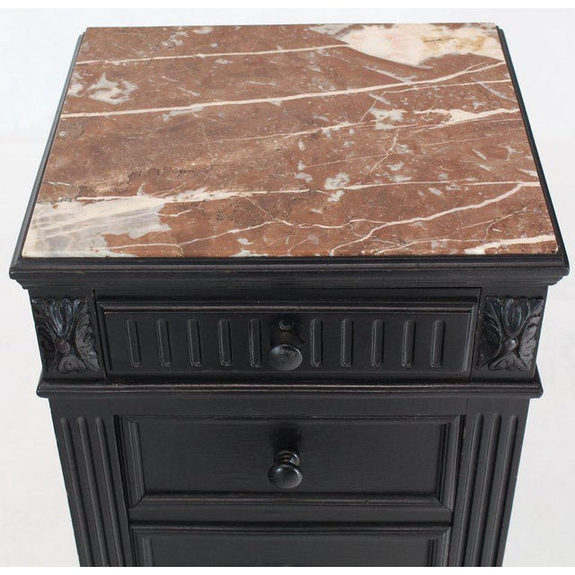 Marble Top Ebonized Black Four Drawers Drop Front Compartment Barber Stand For Sale - Image 11 of 12