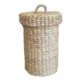 Vintage Woven Sisal Toilet Paper Roll Holder For Sale