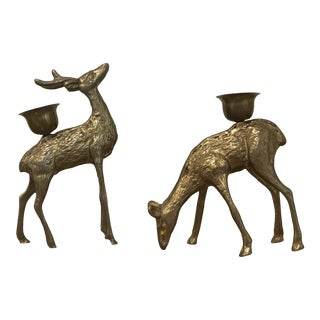 1970s Vintage Brass Deer Candle Holders - a Pair For Sale