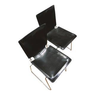 Icf Pelle Leather Armless Stack Chairs - a Pair