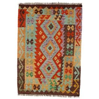 Afghan Kilim Handspun Wool Rug - 3′6″ × 4′11″ For Sale