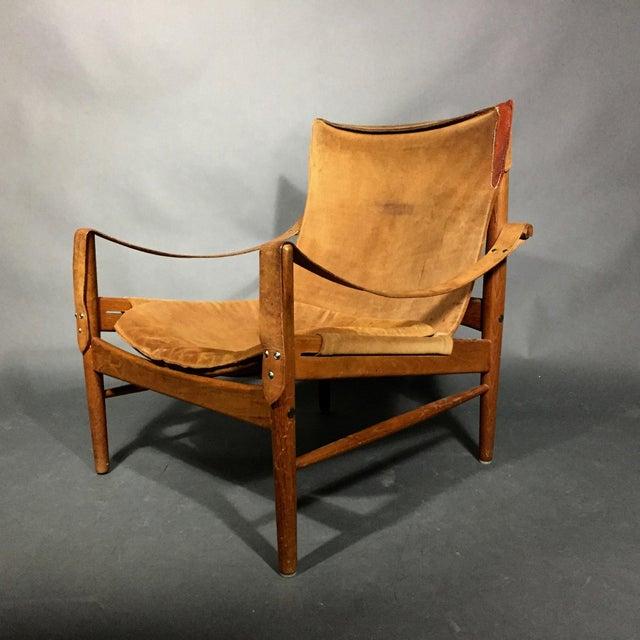 "1960s Scandinavian Modern Hans Olsen ""Antilop"" Suede and Oak Safari Chair For Sale - Image 9 of 12"