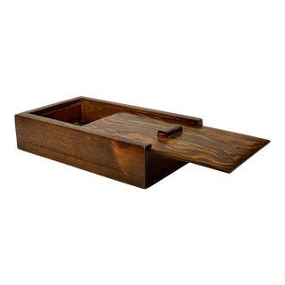 Vintage Farmhouse Pine Wood Dovetailed Slide Top Storage Tool Box For Sale