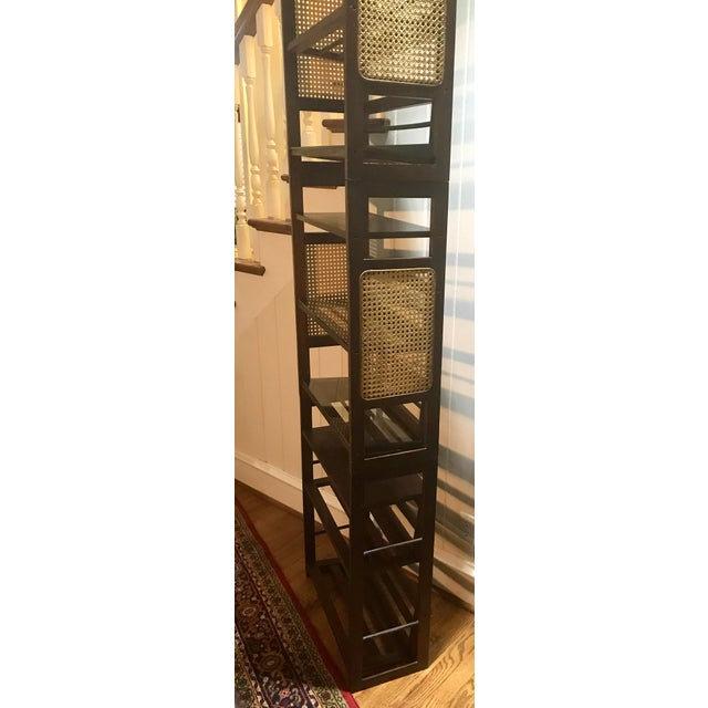 Brown 3 Tier Cane and Wood Shelving Unit For Sale - Image 8 of 13