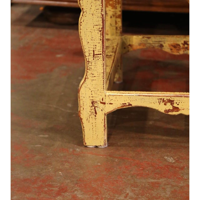 Wood Mid-Century French Country Carved and Painted Pine Library Step Ladder For Sale - Image 7 of 13