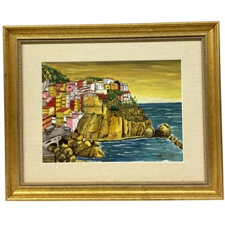 1990s Italian Original Oil Painting of Riviera - Signed For Sale