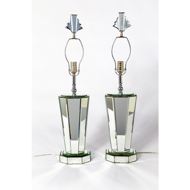 Modern Beveled Mirror & Chrome Lamps W/ Deco Finials - a Pair For Sale - Image 13 of 13