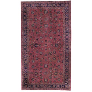 Antique Turkish Sparta Gallery Rug, Raspberry Pink and Navy Blue For Sale