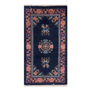 "Apadana - Antique Blue and Pink Chinese Peking Rug, 2'4"" x 4'4"" For Sale"