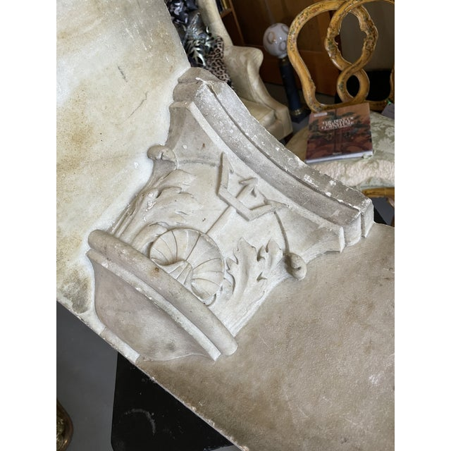 Antique Renaissance Era Marble Cornice Section Poseidon Trident Over Sea Shell For Sale - Image 11 of 13