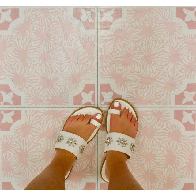 Celerie Kemble Blushing Blooms Hardwood Tile - Sample Tile For Sale - Image 4 of 5