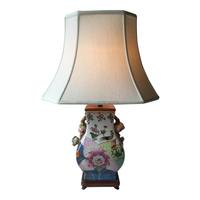 Vintage Porcelain Tobacco Leaf Lamp For Sale