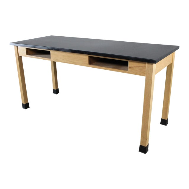 Industrial Laboratory Table, Oak With Black Epoxy For Sale