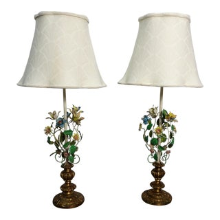 Late 20th Century Vintage Italian Tole Metal Lamps- a Pair For Sale