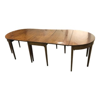 19th Century Hepplewhite Expandable Mahogany Dining Table With Two Demilunes For Sale
