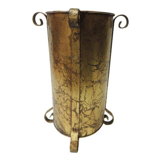 Gold Leaf Gold Vintage Oval Waste Basket For Sale - Image 7 of 7