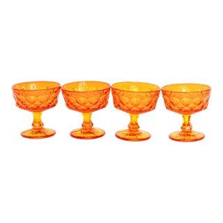 Viking Stemmed Faceted Orange Dessert Cups - Set of 4 For Sale