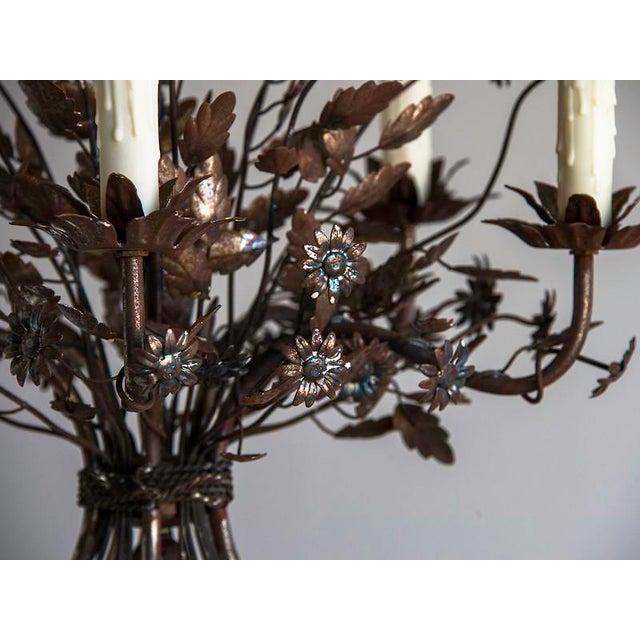 Metal 1940s Vintage Steel Floral Bouquet 5 Light Chandelier For Sale - Image 7 of 9