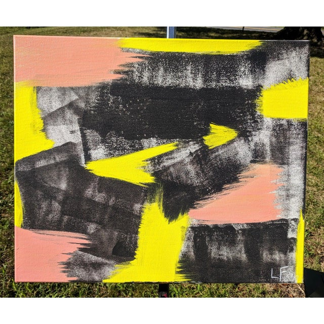 An original acrylic painting on canvas, featuring charcoal black, white, neon lime green, and electric salmon pink Signed...
